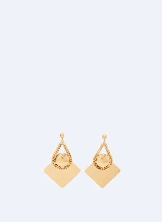 Diamond shaped earrings with chain detail