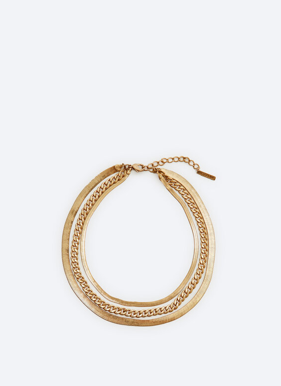 Triple-strand flat chain necklace