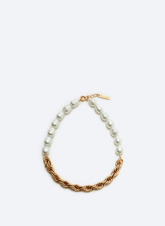 Faux pearl contrast chain necklace