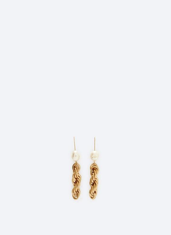 Faux pearl contrast chain earrings