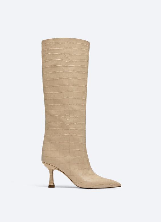 Knee-high mock croc boots