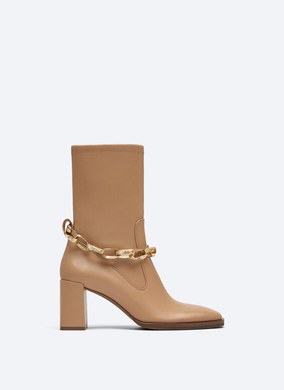Leather ankle boots with removable bracelet
