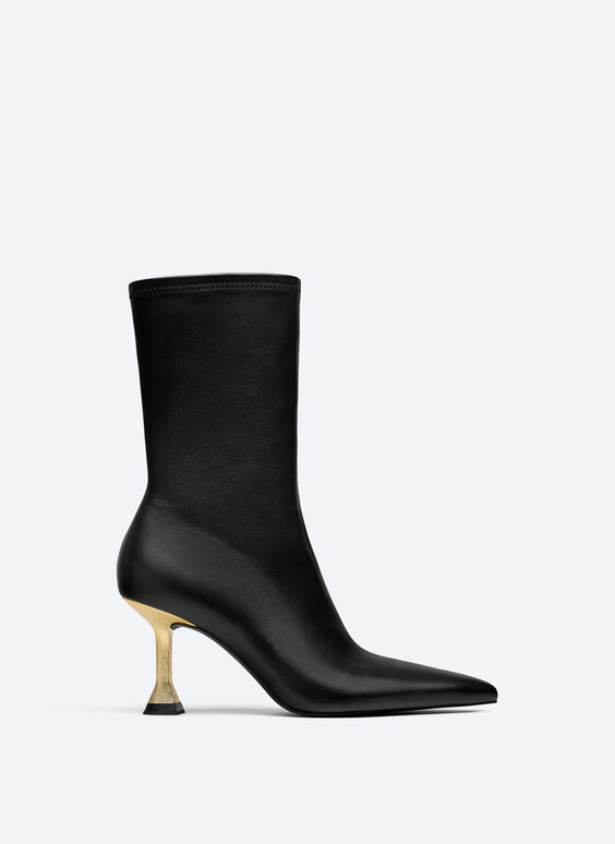 Leather ankle boots with metallic heel