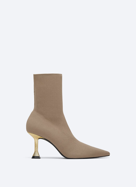 Knit ankle boots with metallic heel