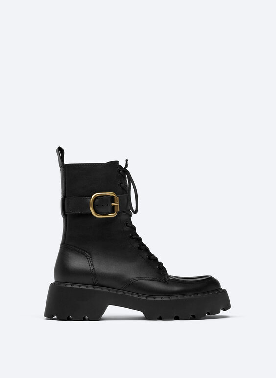 Leather ankle boots with removable buckle