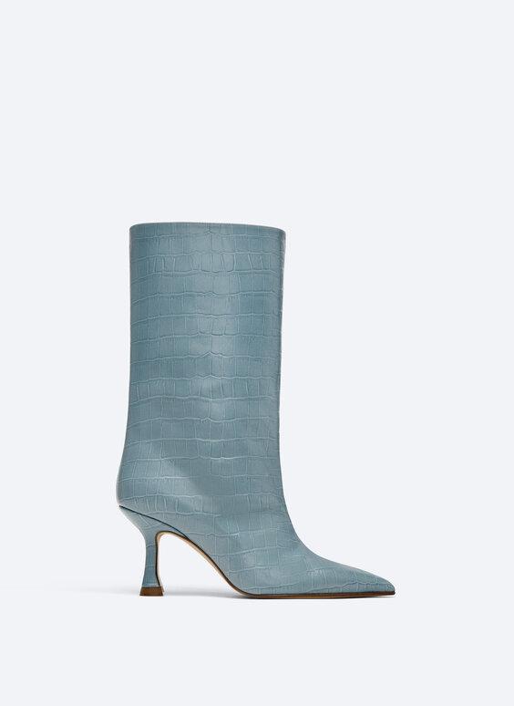Mid-calf mock croc boots