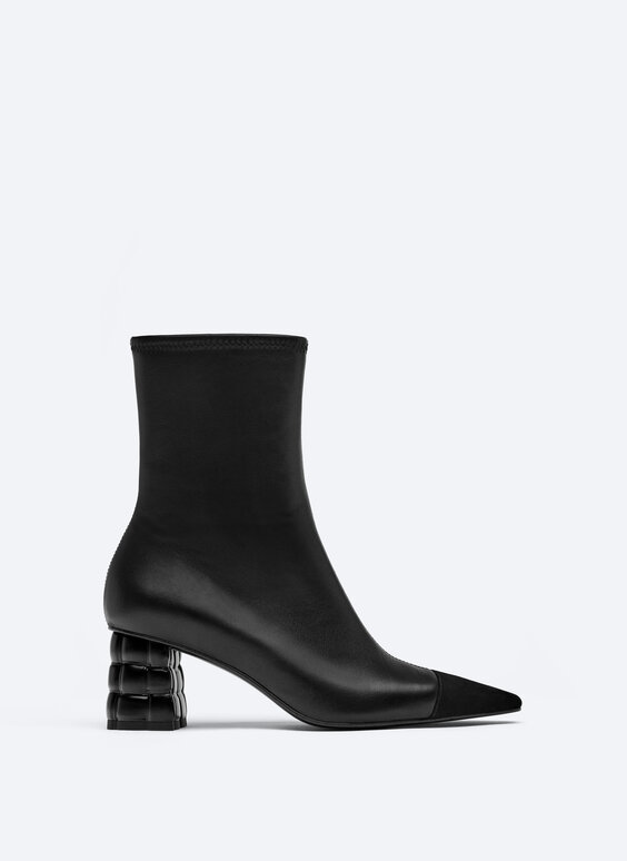 Quilted heel leather ankle boots with toecap