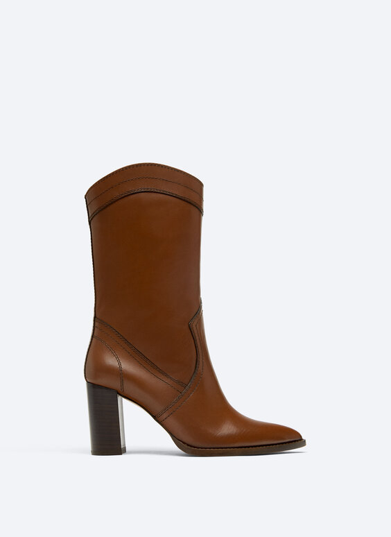 Heeled cowboy-style ankle boots