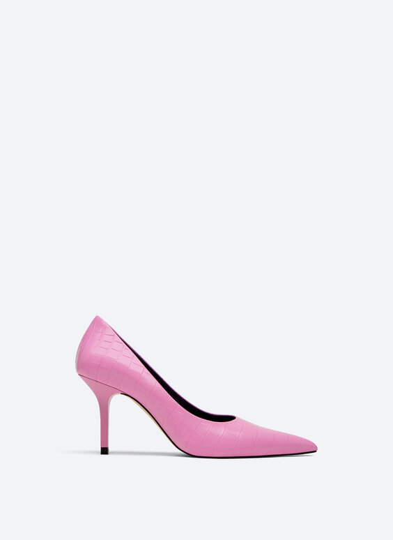 Mock croc high-heel court shoes