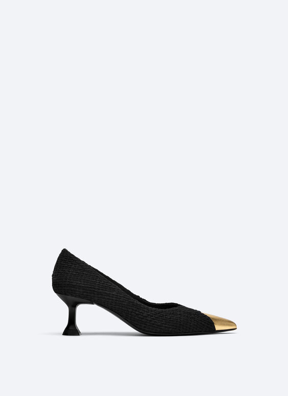 Contrast fabric court shoes