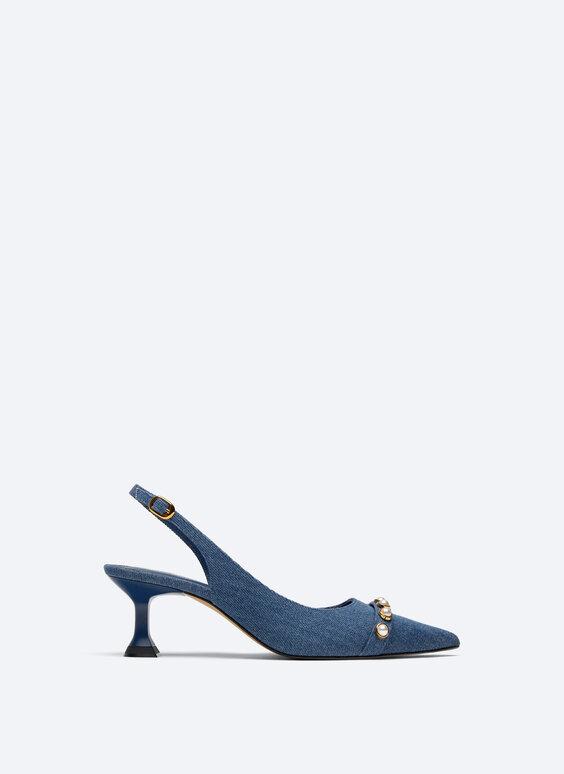 Denim slingback with faux pearl toecap