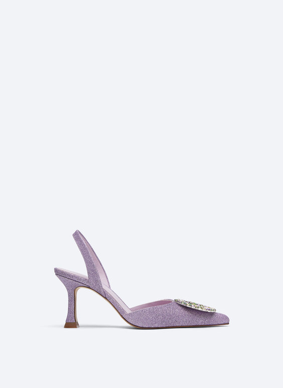 Glitter d'Orsay shoes with rhinestones