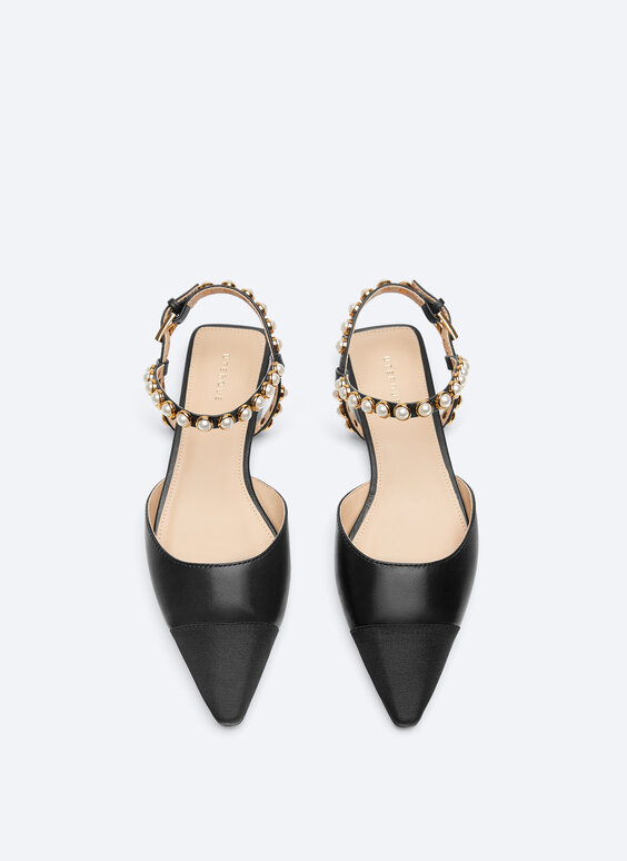 Leather slingback ballerinas with faux pearls