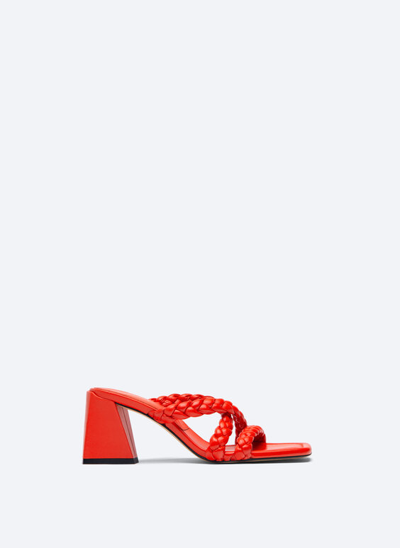 High-heel sandals with plaited strap