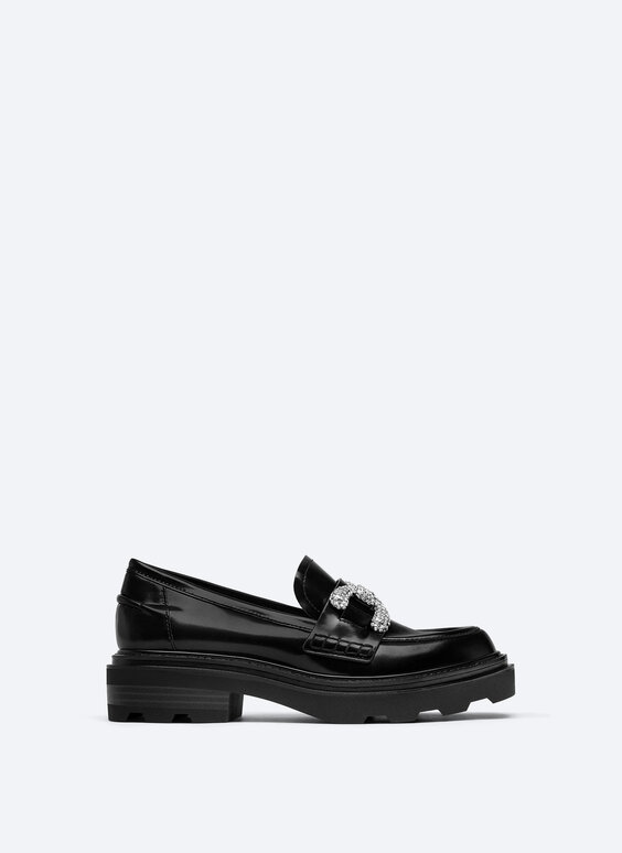 Bejewelled loafers with glossy finish