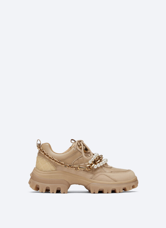 Leather trainers with faux pearl bracelet