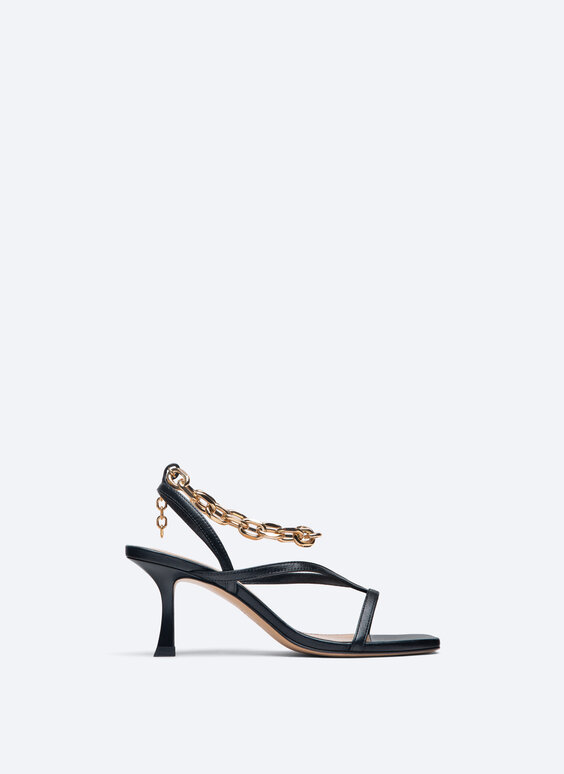 Leather high-heel sandals with chain detail