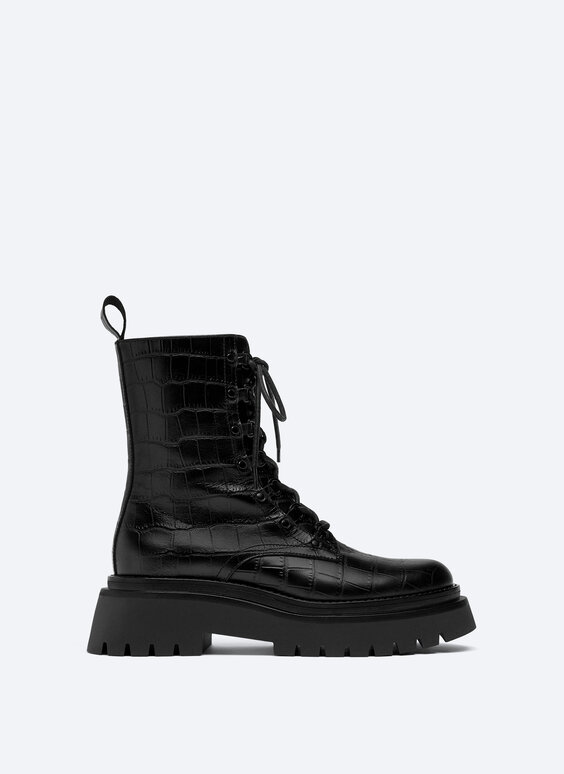 Printed lace-up track-sole ankle boots