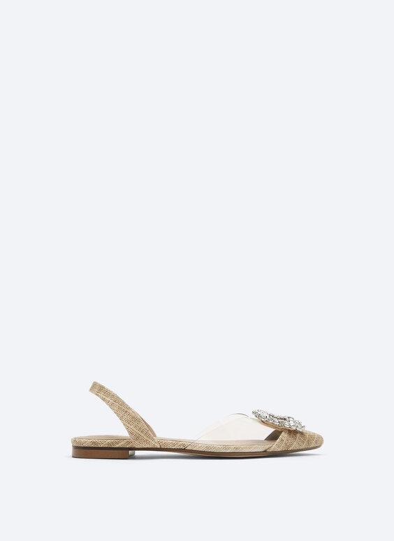 Rhinestone vinyl slingback shoes