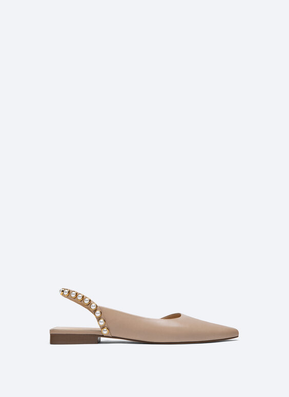 Slingback ballerinas with faux pearls