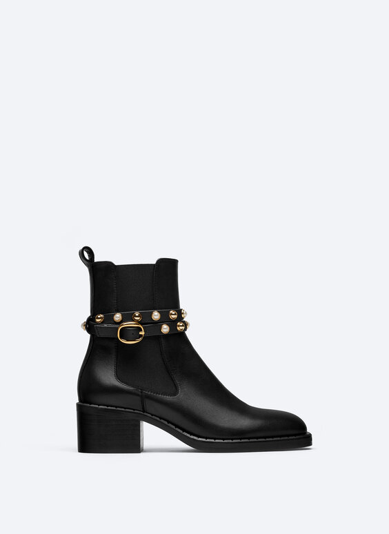 Leather ankle boots with removable faux pearl strap