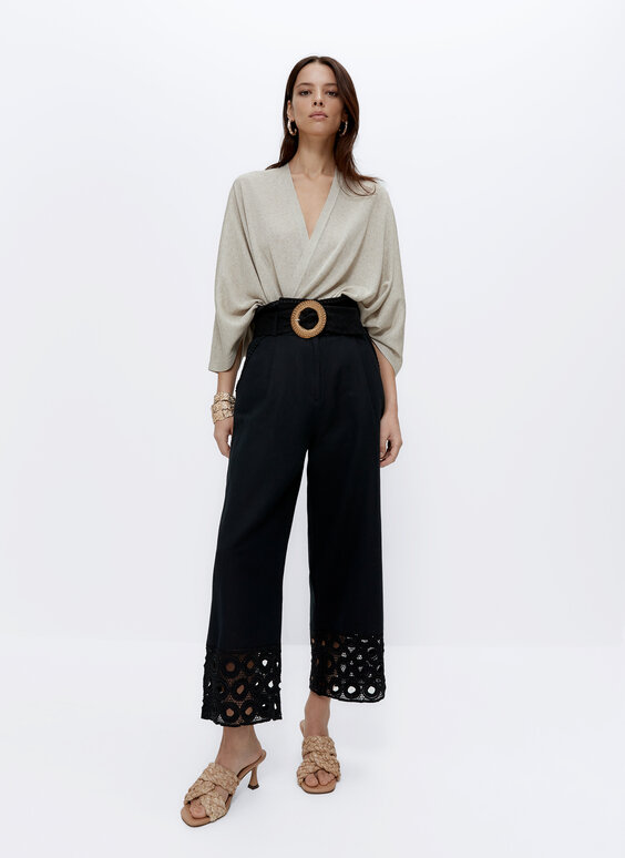 Embroidered trousers with buckle detail