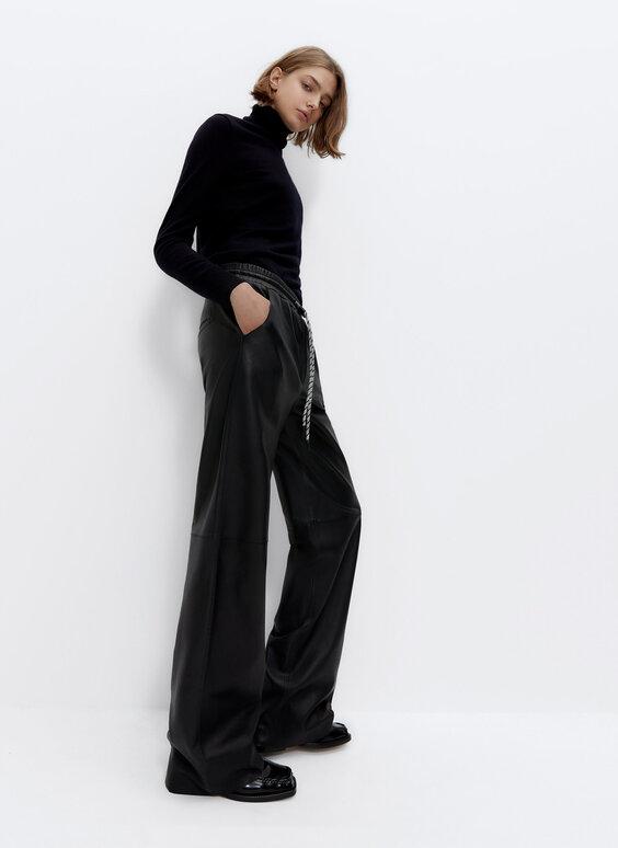 Pantalon jogger large en cuir