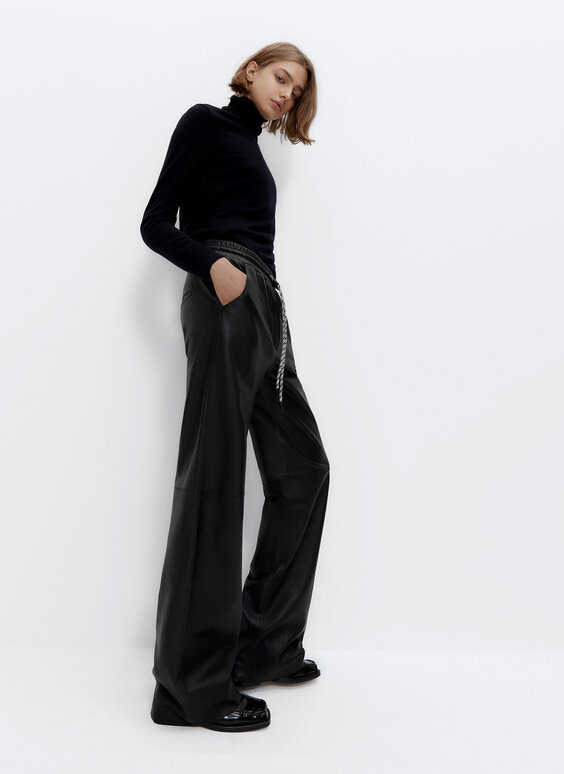 Wide-leg leather jogging trousers