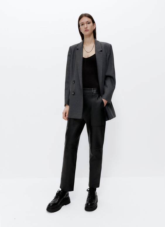 Leather trousers with pockets