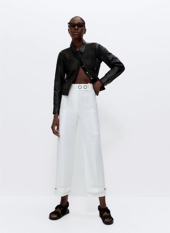 Cotton trousers with snap buttons