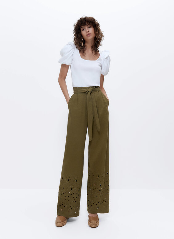 Wide embroidered linen trousers
