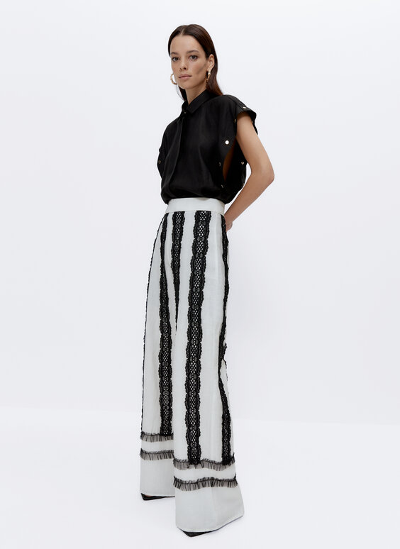 Linen palazzo trousers with embroidery