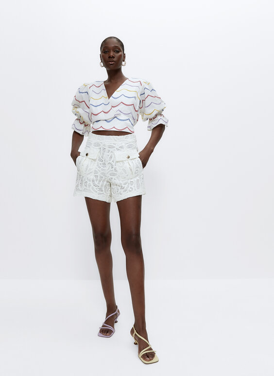 Crochet Bermuda shorts with pockets
