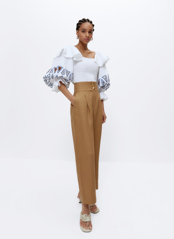Linen trousers with buttons