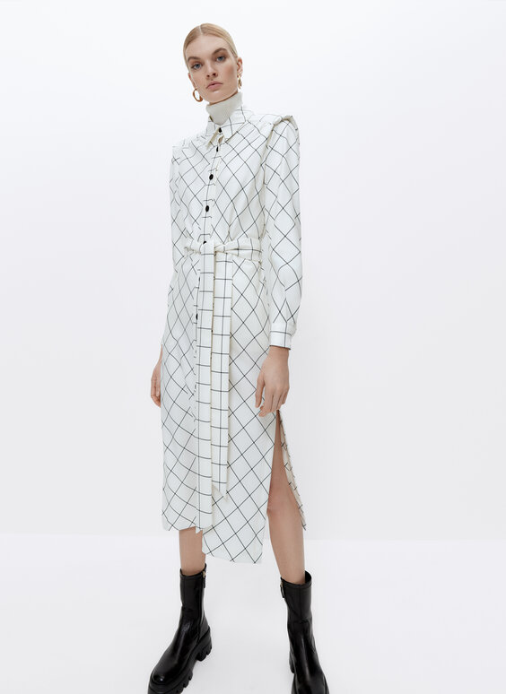 Shirt dress with shoulder pads