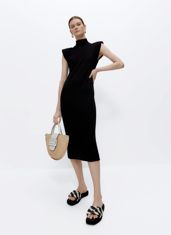 Knit dress with shoulder pads