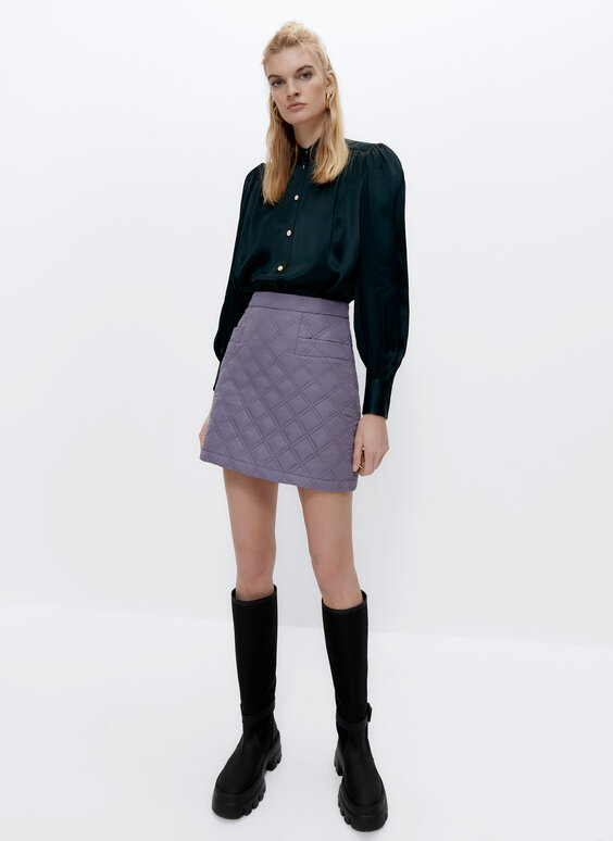 Quilted nylon mini skirt