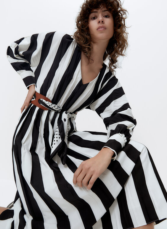Striped pleated dress