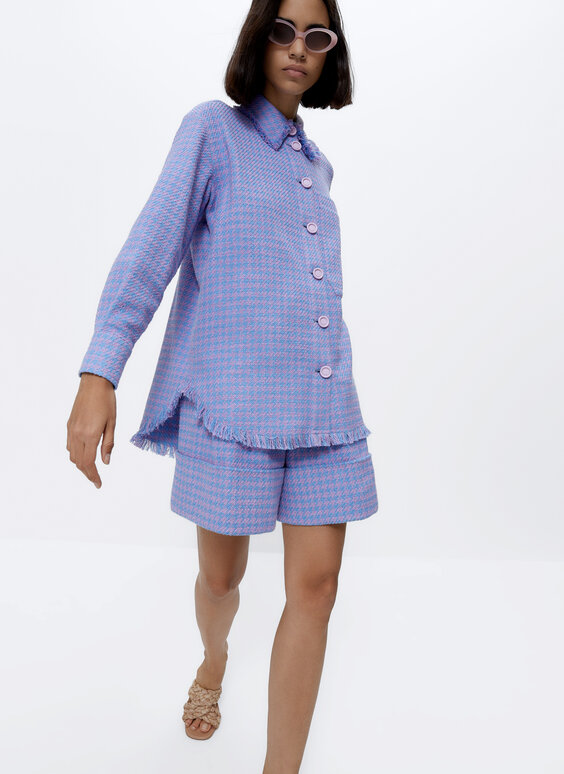 Frayed houndstooth overshirt