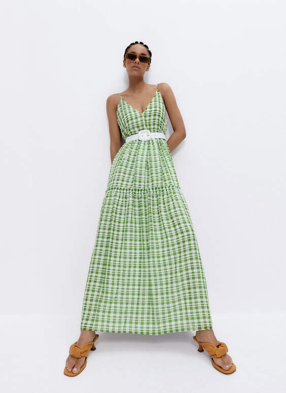 Flowing green gingham dress