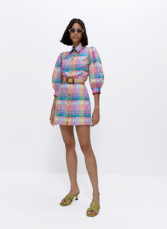 Robe à carreaux multicolores