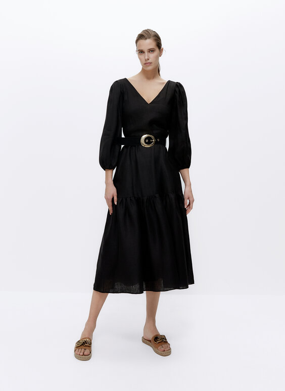 Black linen dress with belt