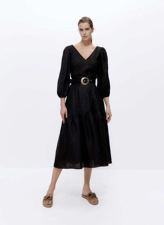 Crna lanena haljina s remenom