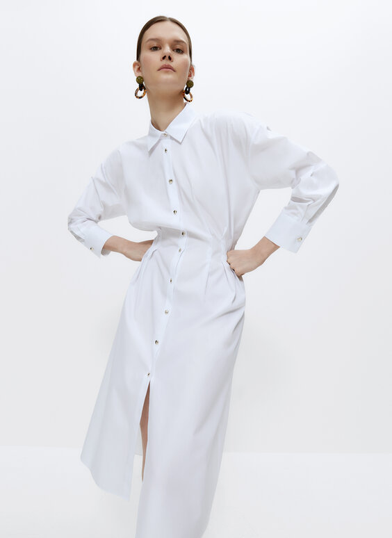 Oversize poplin blouse with pleats