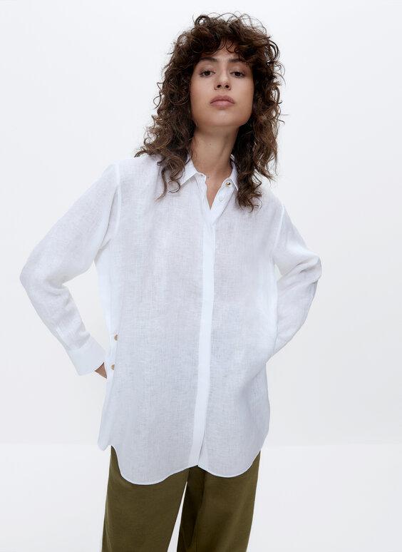Lanena košulja s pritisnim gumbima
