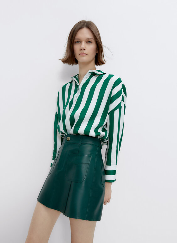 Striped satin shirt