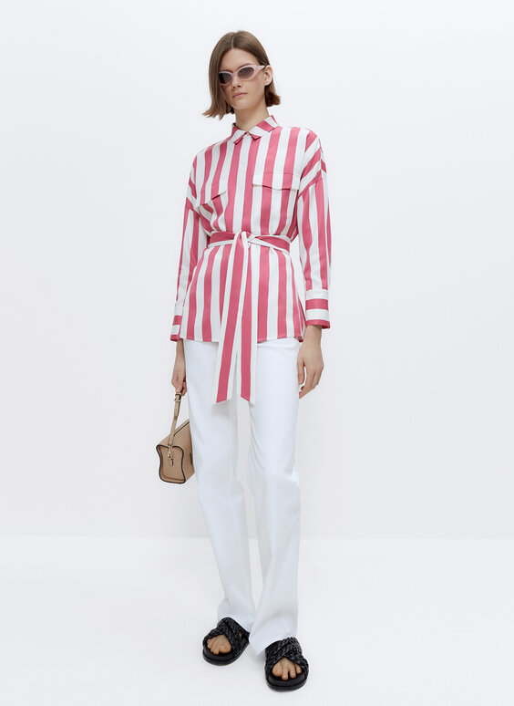 Striped satin shirt with belt