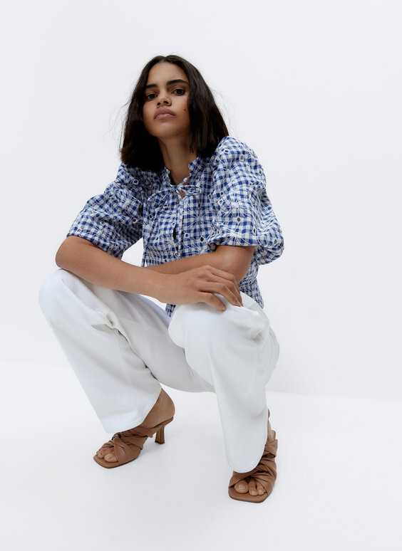Embroidered gingham shirt