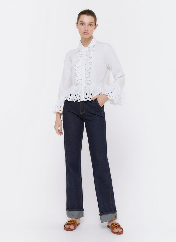 Linen shirt with embroidered ruffles