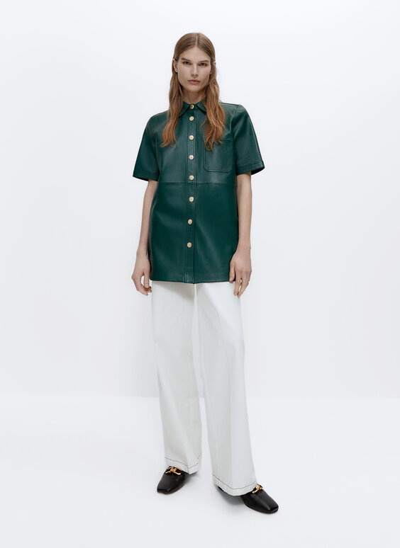 Short sleeve leather shirt with pockets